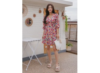 Allover Floral Ruffle A-line Dress