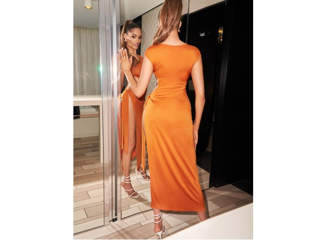 Cut Out Knot Side Split Thigh Bodycon Dress